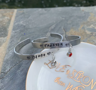 Name Bracelet with birthstone, hand Stamped Personalized Engraved Cuff