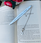 Quote bookmark, personalized initial name bookmark, custom message bookish gift