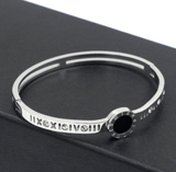 Roman Numeral with cubic zirconia designer inspired Stainless Steel Hinged Bangle Bracelet