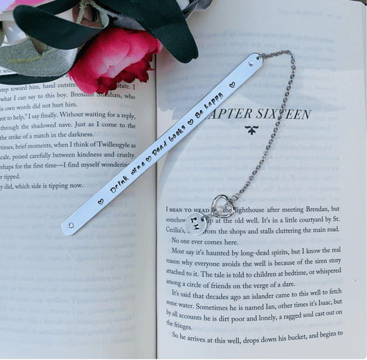 Wine lover bookmark, book club personalized metal bookmark, bookish gift, quote bookmark, gift for mom, book lover gift