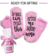 Funny Women Socks If You Can Read This Bring Me Some Wine, Romantic Warm Gift socks, wine socks