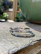 Stackable Thin Bangles, Personalized Cuff Bracelets, Engraved Stackable Bracelets,