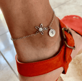 Anklet flower personalized bracelet, initial anklet, custom letter anklet bracelet, custom flower anklet