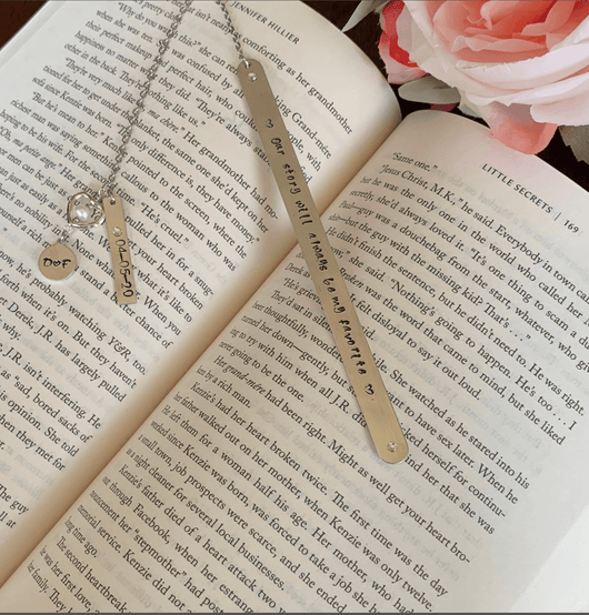Wedding Anniversary Gift Metal Personalized Bookmark, 10th anniversary gift bookmark