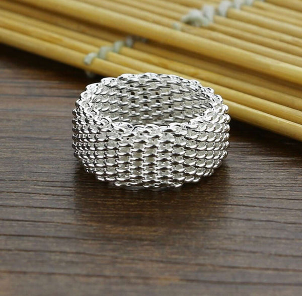 Mesh Ring Sterling Silver, Simple, Modern Ring