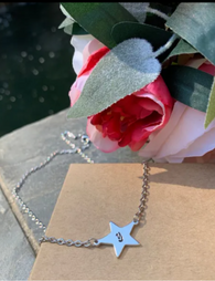 Star necklace with initial, silver star necklace, personalized initial necklace