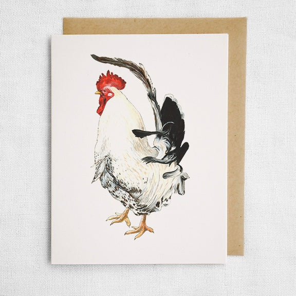 White Rooster Card