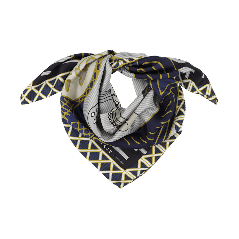 A SAUVAGE blue silk sword scarf hermes