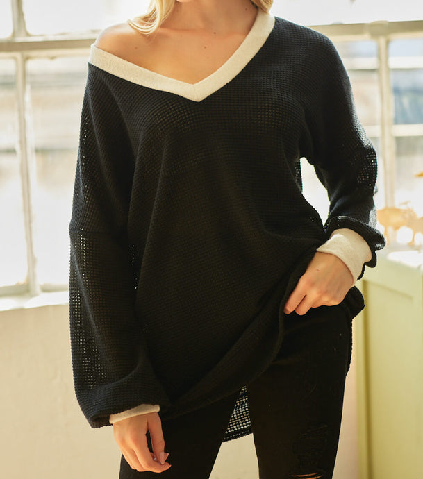 Women's Black Relaxed Fit Top, Women's Black Sweater