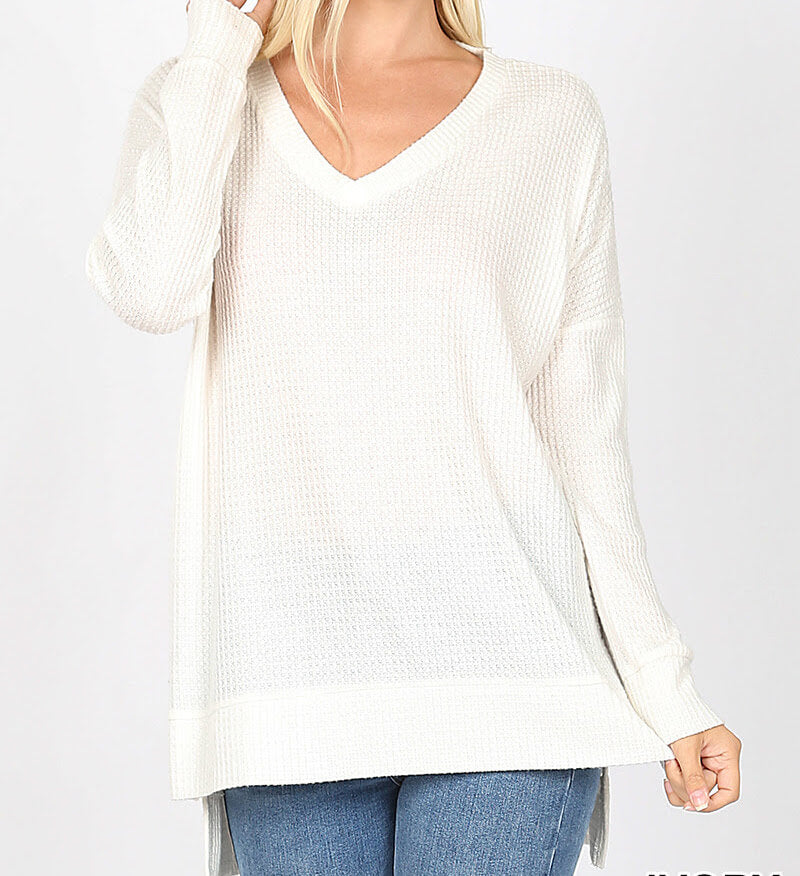 White Hi-Low Top, Women's White Top, Women's Sweater