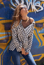 Load image into Gallery viewer, Women's Plaid Top, Women's Button Down Top, Women's Off the Shoulder Top