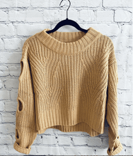 Load image into Gallery viewer, Women's Cropped Knit Sweater, Women's Caramel Knit Sweater, Cropped Sweater