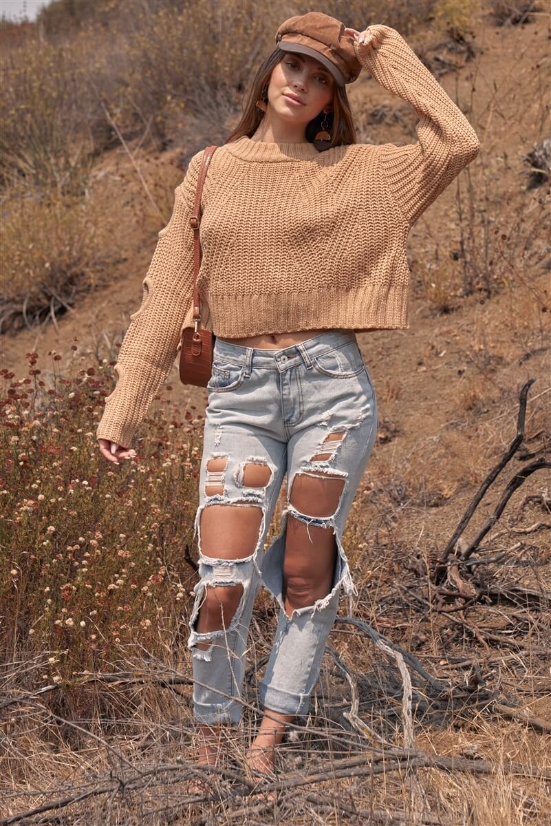 Women's Cropped Knit Sweater, Women's Caramel Knit Sweater, Cropped Sweater