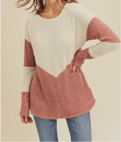 Women's Color Block Sweater, Ivory and Mauve Sweater, Women's Sweater, Cozy Sweater