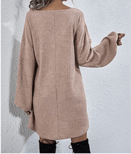 Load image into Gallery viewer, Women's Sweater Dress, Sweater Dress, Taupe Sweater Dress, Taupe Dress, Cozy Dress, Women's Dress