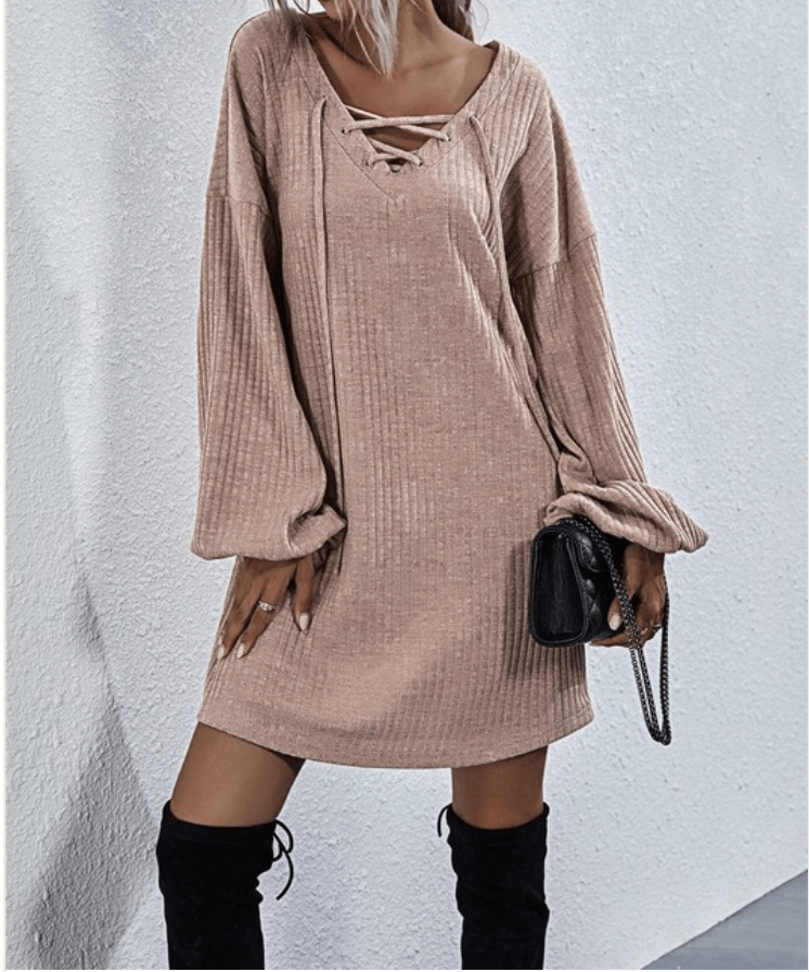 Women's Sweater Dress, Sweater Dress, Taupe Sweater Dress, Taupe Dress, Cozy Dress, Women's Dress