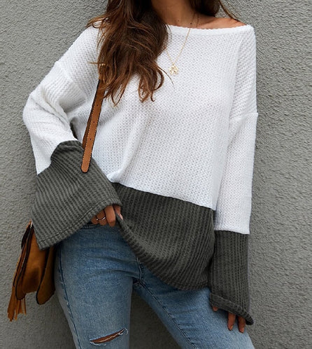 Women's White Sweater, Women's Color block Sweater, White and Gray Sweater, Cozy Sweater