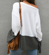 Load image into Gallery viewer, Women's White Sweater, Women's Color block Sweater, White and Gray Sweater, Cozy Sweater