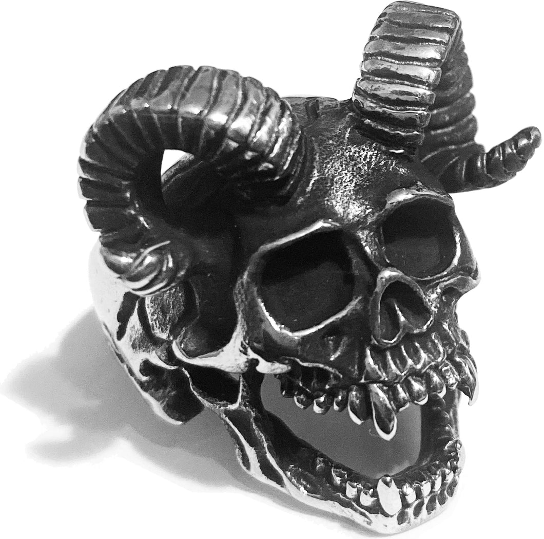 SACRIFICE RAM HORN DEMON SKULL HEAD RING