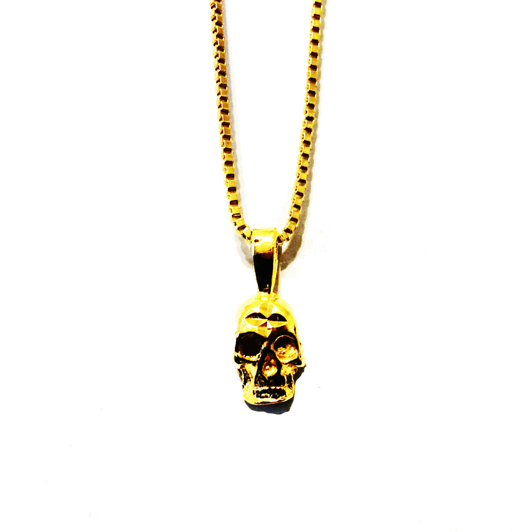 SMALL SKULL PENDANT NECKLACE (GOLD)