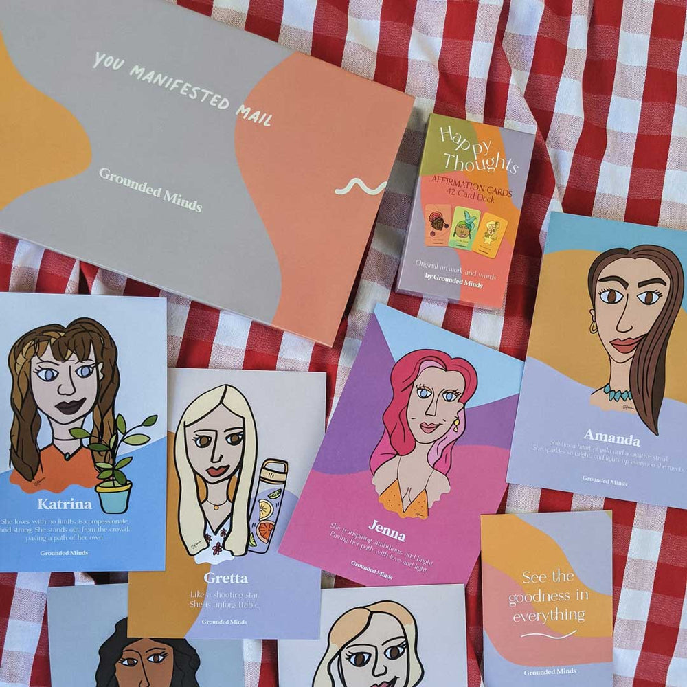 Deck of 'Happy Thoughts' Affirmation Cards + Custom Illustration Pack