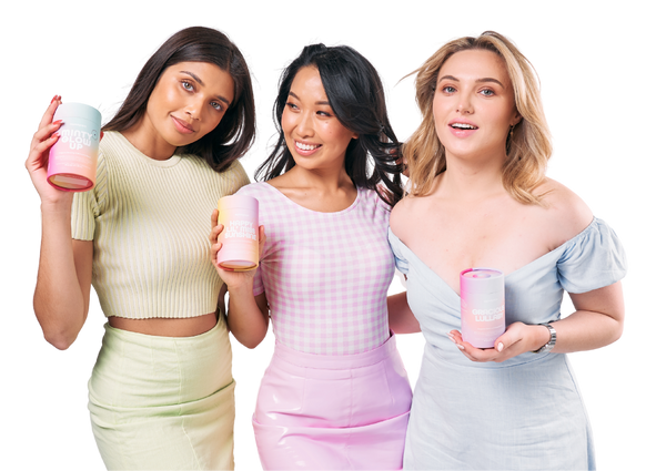 three young female holding saymegrace organic beauty and skincare tea