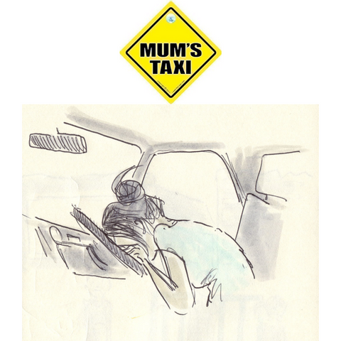 The Fox & Bean Blogpost - Clearing Out - Mum Taxi sign with @DoodleMum