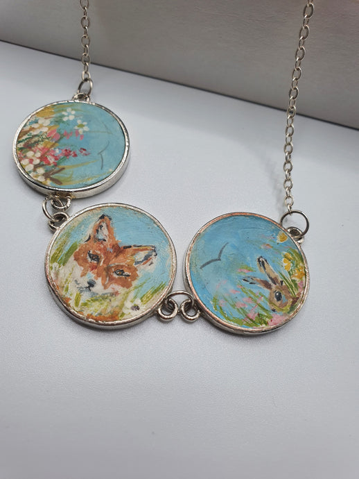 The Fox & Bean with Les Papillons painting  original artwork  Necklace  local artist  handpainted  handmade  art  acrylic  accessories