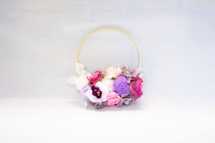 Flowers & PomPoms on a Wooden Hoop Band - by Enchanted Rose