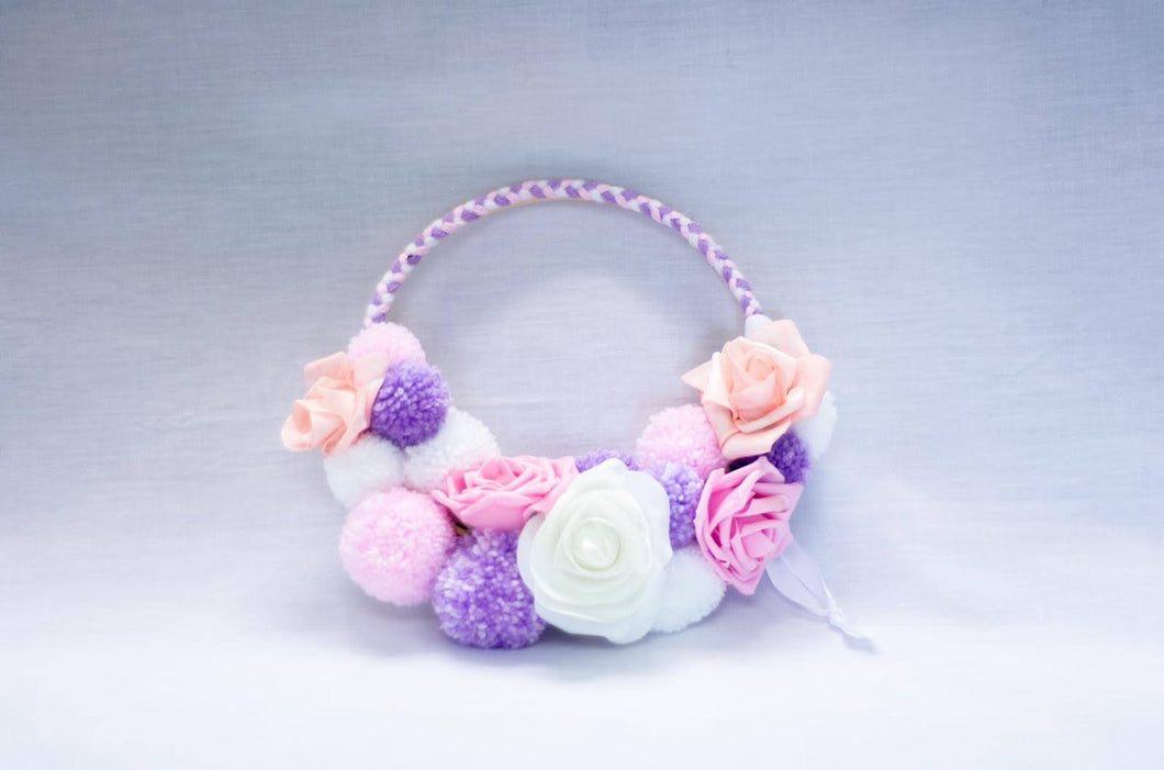 Pink Braids Pompom Hoop Bands - Enchanted Rose