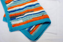 Load image into Gallery viewer, Blue Stripe baby blanket by Flutterbys and Pretticoats, blues, grey, orange and white stripes handcrocheted, fit for a prince!