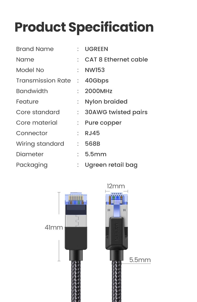 Ugreen Ethernet Cable CAT8 Cables - Blck Box Tech