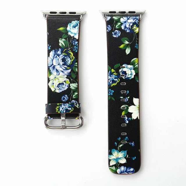 Crested Floral Leather Strap for Apple Watch Straps/Bands - Blck Box Tech