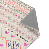 Pink, Gray and Coral Geometric Rug
