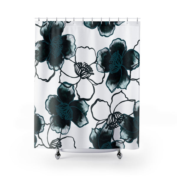 Teal Flower Shower Curtain
