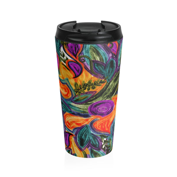 Retro Floral Stainless Steel Travel Mug