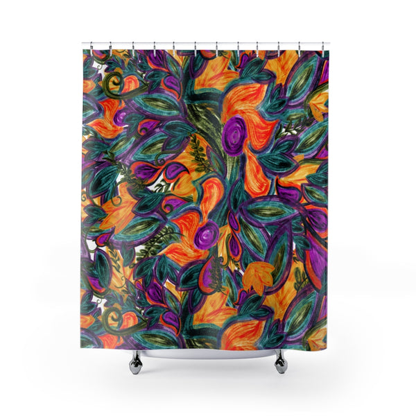 Retro Floral Shower Curtain