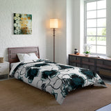 Teal Watercolor Flower Comforter