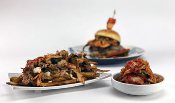 Cheeseburgertopped with kimchee