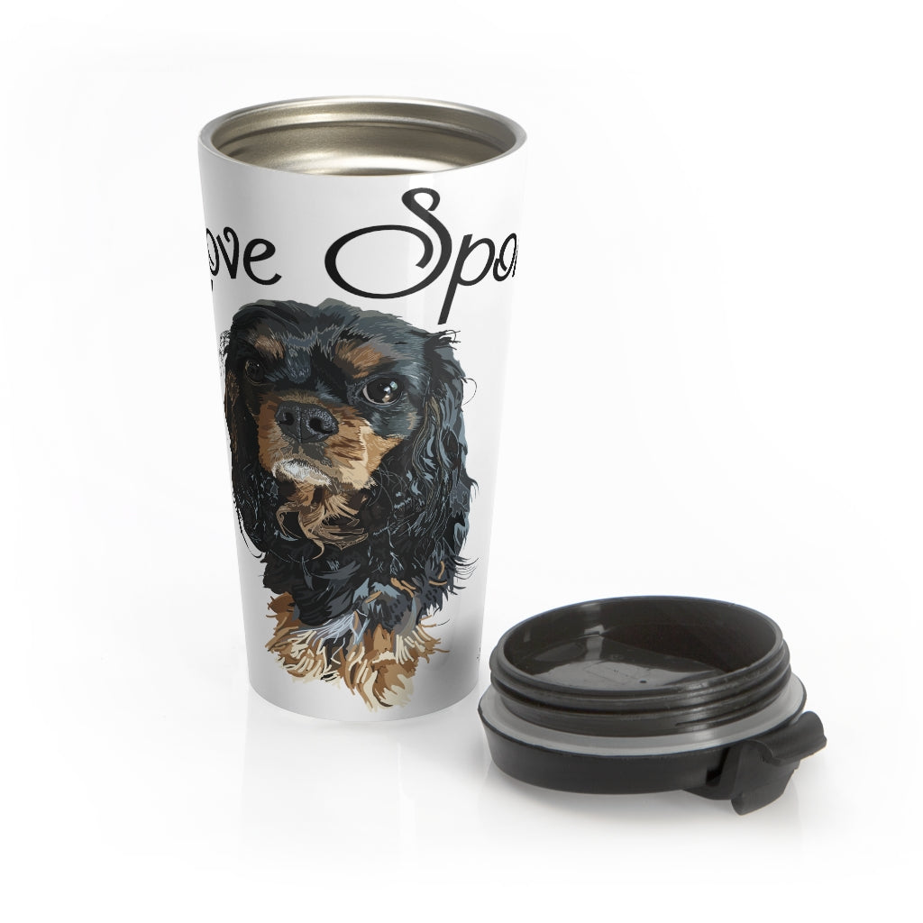 Love Sponge Cavalier King Charles Spaniel Stainless Steel Travel Mug