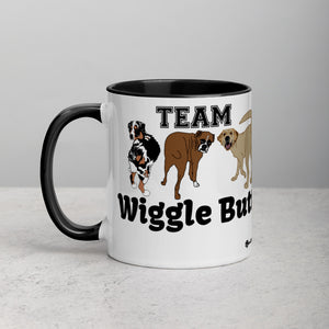 Team Wiggle Butt with Aussie, Boxer, and Labrador Dogs Mug with Vibrant Color Inside