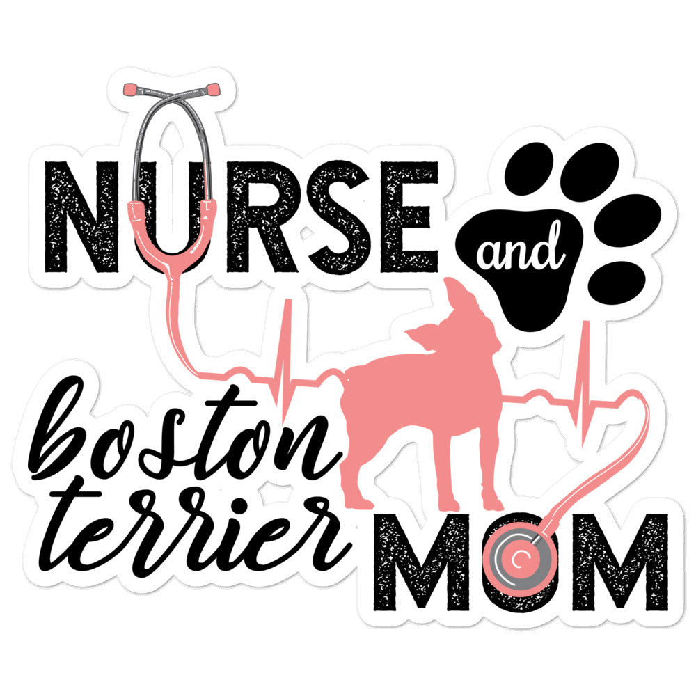 Silhouette - Nurse and Boston Terrier Mom Kiss Cut Sticker