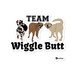 Team Wiggle Butt (Aussie, Boxer, and Lab dogs) Kiss Cut Sticker