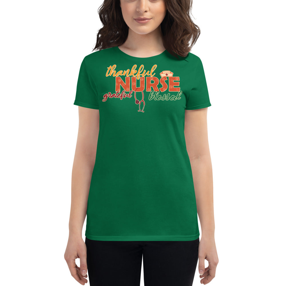 Grateful Thankful Blessed Nurse Women's T-Shirt for Fall