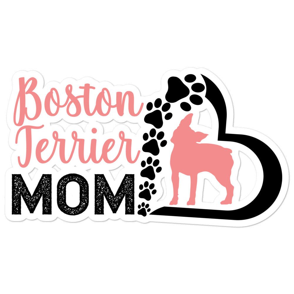 Silhouette Boston Terrier Mom Kiss Cut Sticker