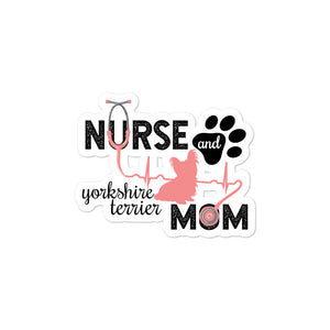 Silhouette - Nurse and Yorkshire Terrier Mom Kiss Cut Sticker
