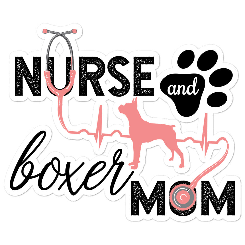 Silhouette - Nurse and Boxer Mom Kiss Cut Sticker