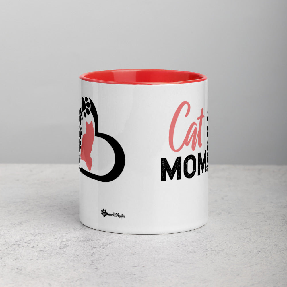 Silhouette - Cat (Long Haired) Mom Mug with Vibrant Color Inside