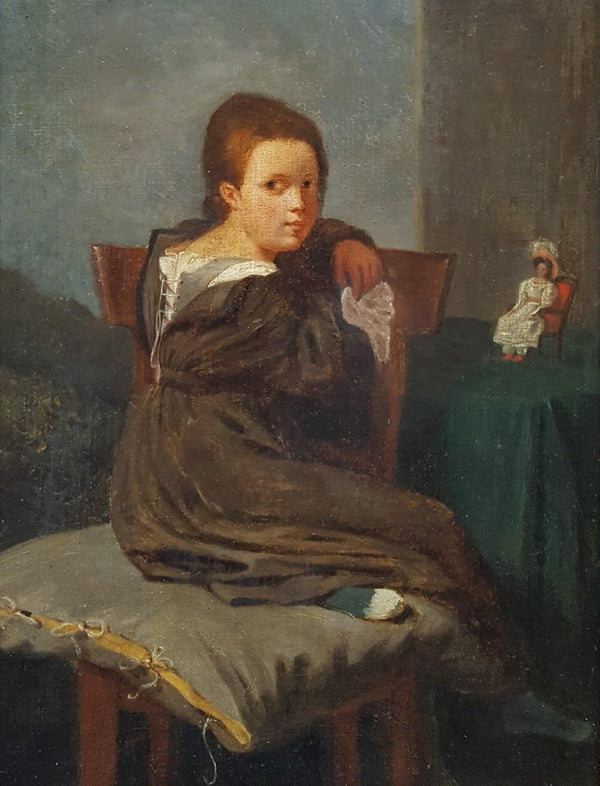 French School - Young Girl with Her Doll - Circa 1830-Winckelmann Gallery