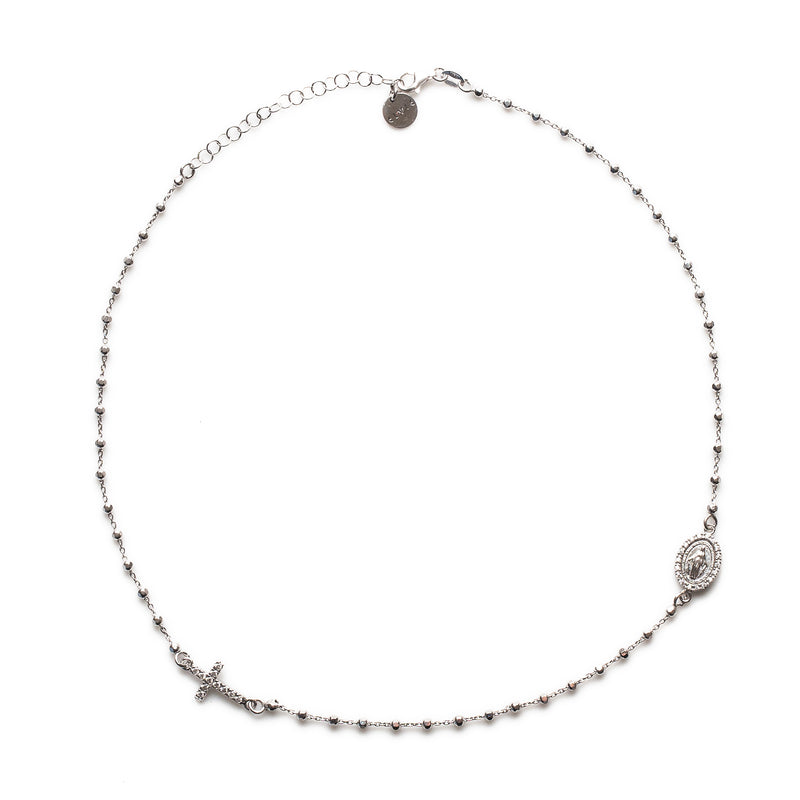 ROSARY NECKLACE - SILVER & CZ CRYSTAL